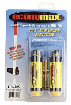 AeroTech Economax G74-6W White Lightning Single-Use 29mm Motor 2-pack
