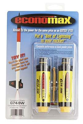 AeroTech Economax G74-9W White Lightning Single-Use 29mm Motor 2-pack