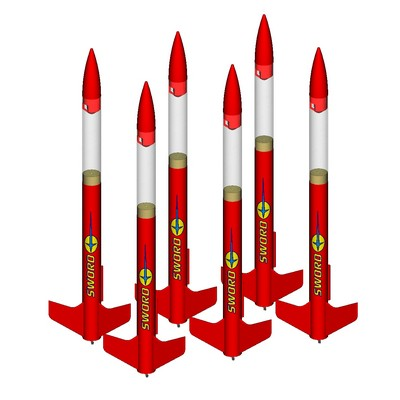 ModelRockets.us Sword Bulk Pack of 6 Rocket Kits